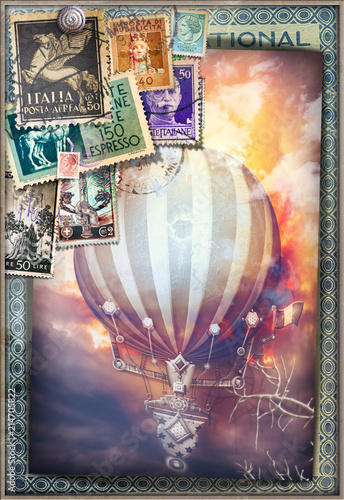 Aluminium Imagination Hot air balloon in the sunset of fire - old fashioned postcard