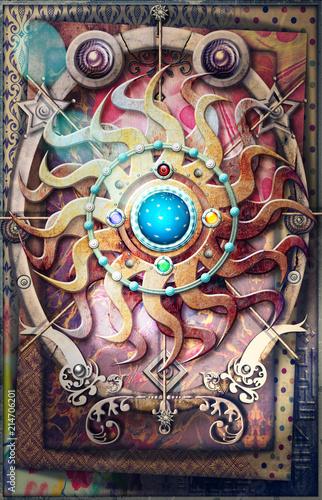 Aluminium Imagination Radiant sun, alchemical, astrological and esoteric symbols