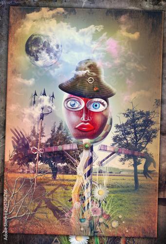 Aluminium Imagination Haunted field with bizzarre scarecrow