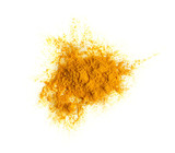 Turmeric (Curcuma) powder pile isolated on white background, top view. - 214712215