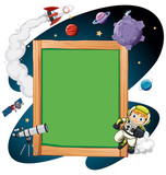 A wooden frame space scene - 214714881