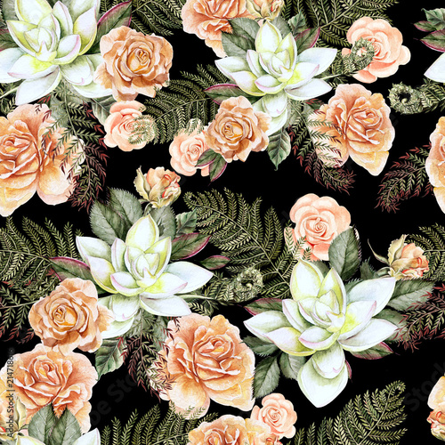 A bright watercolor pattern with flowers of a rose and  succulent. With leaves and fern.  - 214718616