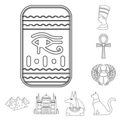 Ancient Egypt outline icons in set collection for design. The reign of Pharaoh vector symbol stock web illustration.