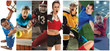 Sport collage about soccer, american football, basketball, tennis, boxing, field hockey, table tennis