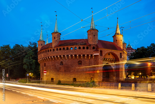 obraz PCV Barbican at night in the old town of Krakow, Poland.