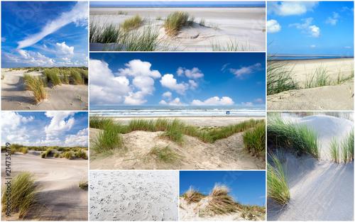 Aluminium Noordzee Urlaubs-Collage: Friesland, Nordsee, Strand auf Langenoog: Dünen, Meer, Entspannung, Ruhe, Glück, Freude, Erholung, Ferien, Urlaub, Meditation :)