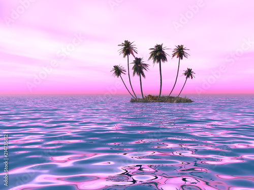Aluminium Purper palms on the island against the sunset