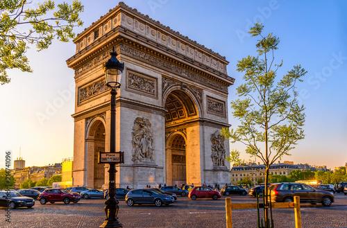 Leinwandbild Motiv Paris Arc de Triomphe (Triumphal Arch), place Charles de Gaulle in Chaps Elysees at sunset, Paris, France.
