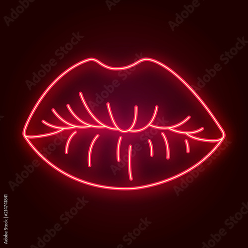 Vector neon lips. Retro template for store signs, posters, banners, cards for Valentine's day. © keykitty