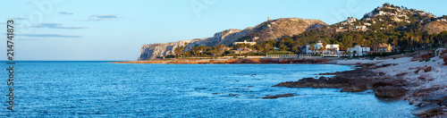 Foto Murales Summer sea rocky coast and cape view, Spain