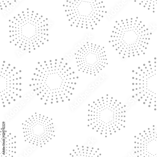 Abstract geometric pattern of the points. A seamless background. Graphic grey and white pattern. - 214742229