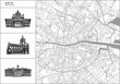 Dublin city map with hand-drawn architecture icons - 214744406