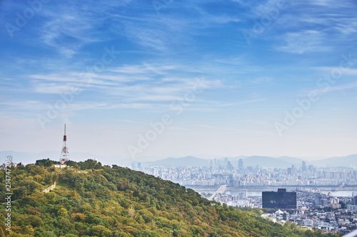 Aluminium Seoel Seoul cityscape, The radio tower on the mountain with Seoul downtown in background
