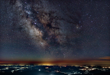 Milky Way above the city lights