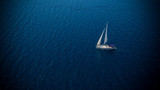 Sailing boat on open water, aerial view - 214752089