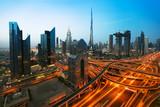Dubai sunset panoramic view of downtown - 214752250