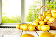 Leinwanddruck Bild - Fresh yellow lemon on white wooden table and free space for your bottle or glass. Window background of summer time.