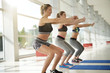 Leinwandbild Motiv Women doing fitness exercises at the gym