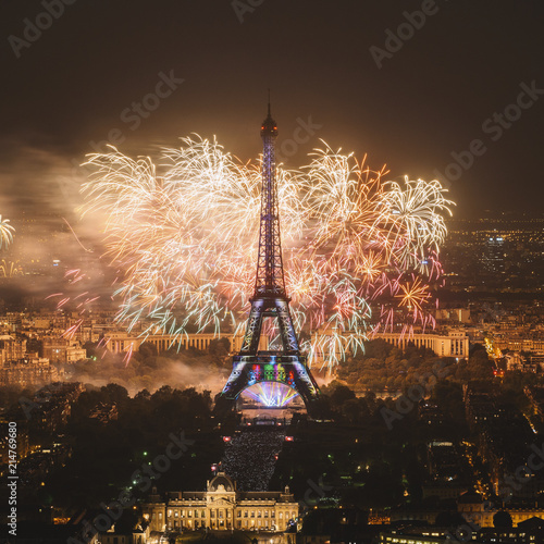 Wall mural Eiffel tower with fireworks, celebration of the New Year in Paris, France