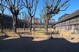 Couryard in Aitre de Saint Maclou in Rouen, ancient graveyard of victims of epidemic. Rouen, Normandy, France
