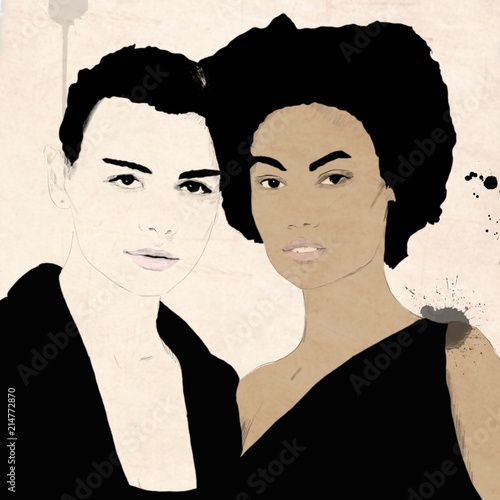 Painting of Biracial friends. Girls from or with different cultures, Fashion illustration. Interracial, biracial or multiracial in color. Dark skin. With afro hair - 214772870