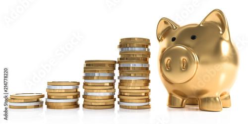 Leinwandbild Motiv 3D goldenes Sparschwein mit Geldmünzen