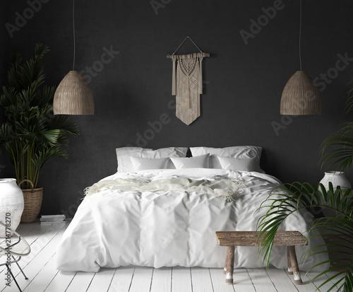 Sypialni wnętrze z czerni ścianą, boho stylu wystrojem i bielu łóżkiem, 3d odpłaca się