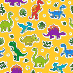 Seamless pattern with colorful dinosaurs and leaves,patch icons on yellow background