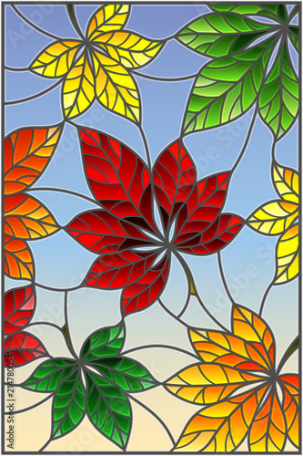 illustration-in-stained-glass-style-with-colorful-leaves-of-chestnut-trees-on-a-blue-background