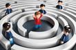 Leinwanddruck Bild - 3D Männchen Labyrinth Problemlösung