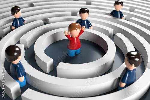Leinwanddruck Bild 3D Männchen Labyrinth Problemlösung