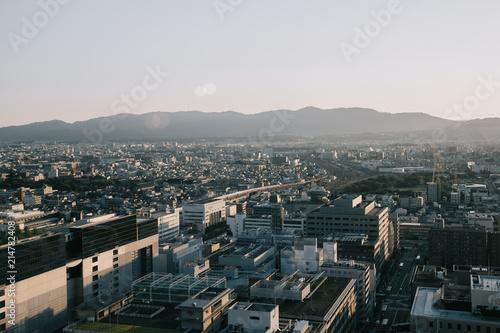 Aluminium Kyoto cityscape of Kyoto with sunrise in film vintage style