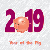 2019 Happy New Year greeting card. Celebration white background with pig and place for your text. Vector Illustration - 214791043