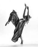 Beuatiful female dancer. White background - 214794068