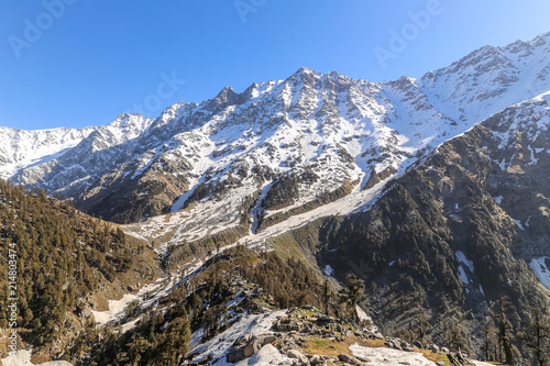 Foto Murales Beautiful view of mountains in snow at Triund hill top, Snow Line, Mcleod ganj, Dharamsala, India.