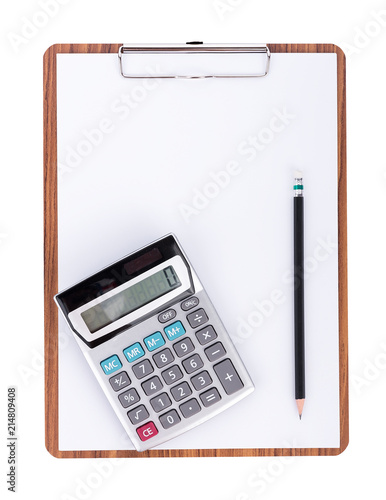 Calculator and pencil on blank paper on wooden clipboard with space on white background - 214809408