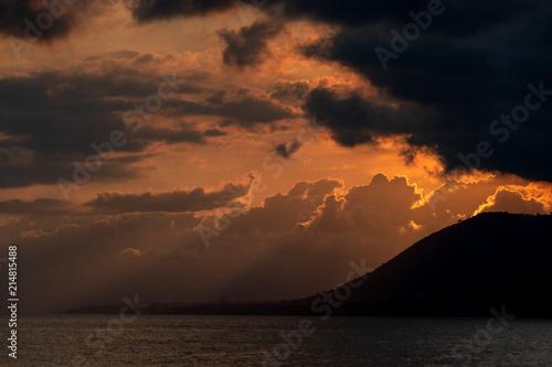 Fotobehang Liguria Camogli village sunset view