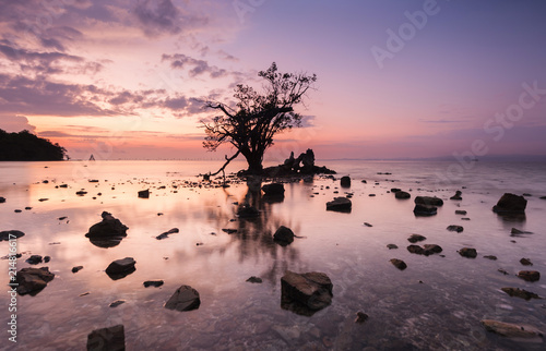 Aluminium Lavendel view of beautiful sunset seascape at Kudat, Sabah Malaysia. soft focus due to long expose.
