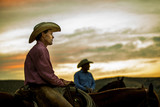 Cowboys at Sunset - 214818209