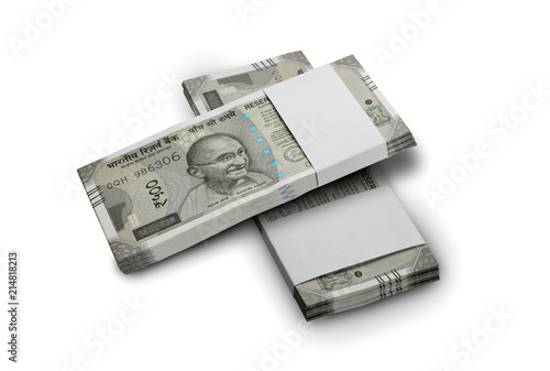 Foto Murales Indian Currency Rupee 500 Bank Notes Bundle on White Background