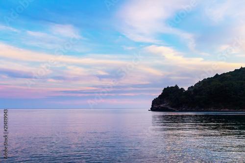 Plexiglas Pool Gorgeous seascape of Adriatic sea near Budva city, awesome landscape after sunset in Montenegro