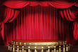 Empty theater stage with red velvet curtains. 3d illustration