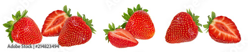 Foto Murales Fresh strawberry isolated on white background with clipping path