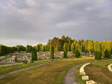 Christian cemetery with graves and spaces for cremation - 214826481