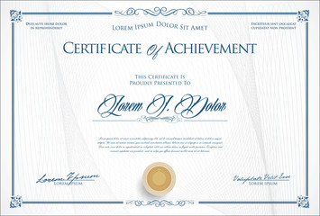 Certificate or diploma retro template vector illustration