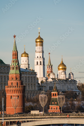 Canvas Moskou cityscape Kremlin, a large stone bridge, a large Kremlin palace
