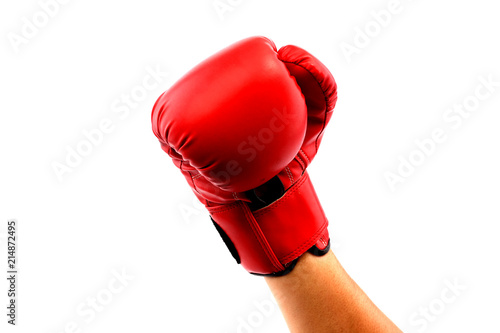 Red boxing mittens against a white backdrop.