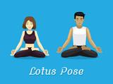 Manga Style Cartoon Yoga Lotus Pose