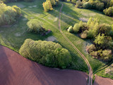 morning farm landscape with fields and groves,aerial - 214889875