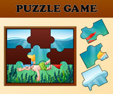 Boy diving in undersea with puzzle concept